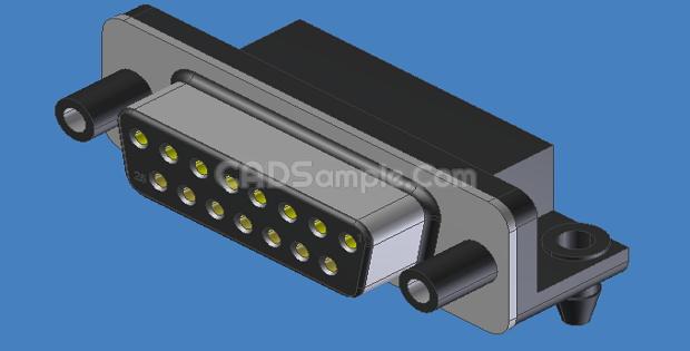 15 Pin VGA Connector Invertor 3d Drawings