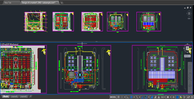 Design of a market for the sale of food autocad drawing - Finestre dwg 2d ...