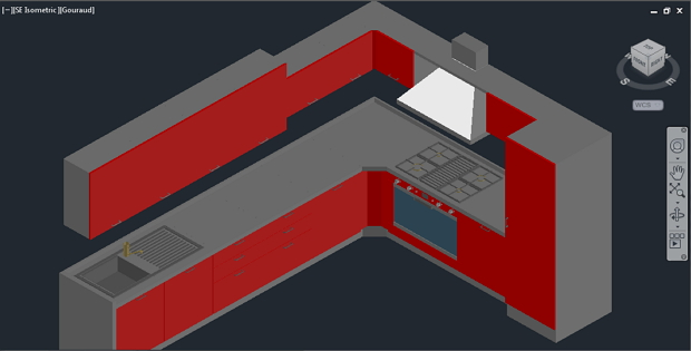 Kitchen 3D AutoCAD Drawing 2