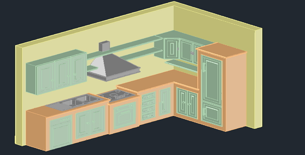 Kitchen 3d Autocad Drawing Cadsample Com