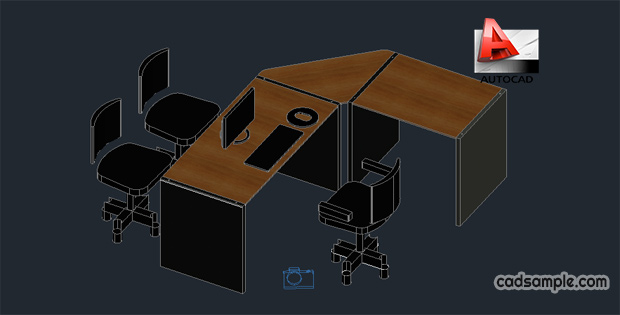 Office furniture 3d autocad drawing free dwg cadsample com for Office table 3d design