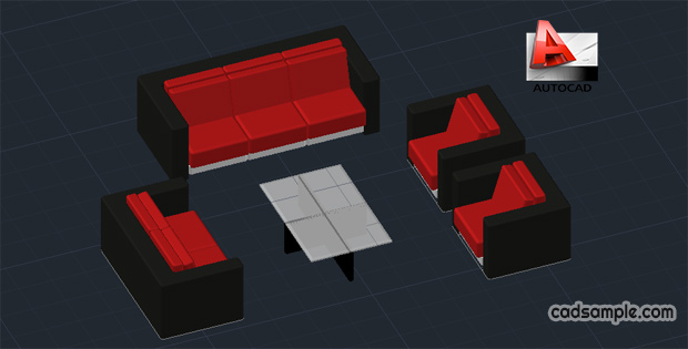 Sofa 3d In Autocad Drawing Free Dwg Cadsample