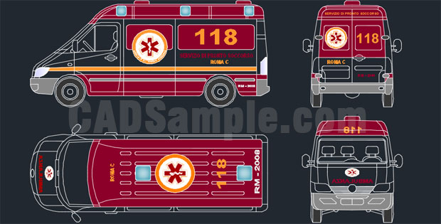 Ambulance In Autocad Drawings Free Dwg 187 Cadsample Com