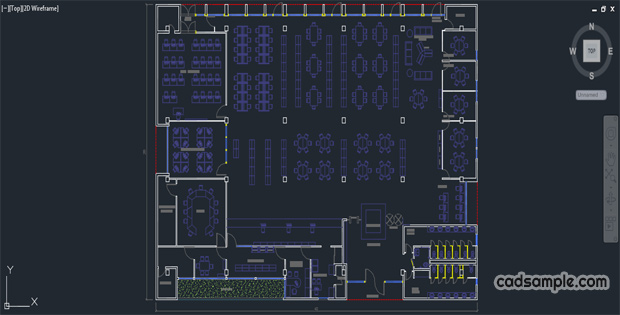 Library Plan Scheme Autocad Dwg Cadsample
