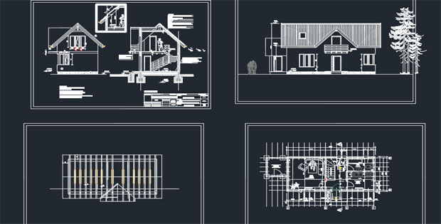 Wooden House Detail AutoCAD Drawings Free DWG » CADSample Com