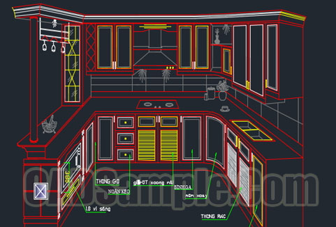 3d Kitchen Blocks Cad Of Cabinet 187 Cadsample Com