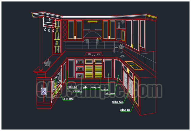 3d kitchen blocks cad of cabinet cadsample com for Autocad kitchen cabinets