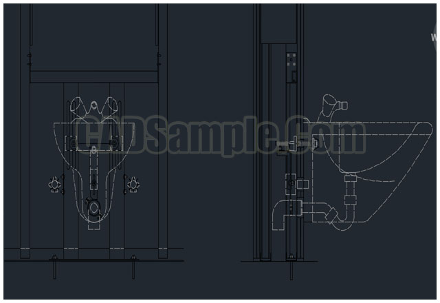 Bidet Mating in Drywall Partition DWG » CADSample.Com