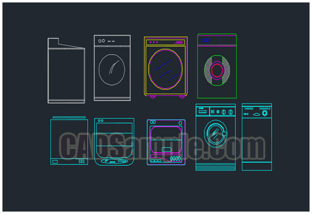 Collection of Washing Machine Elevation Dwg Block