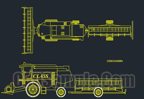 Combine Harvester Truck Cad Block Dwg 187 Cadsample Com