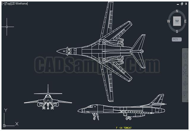 F 14 Tomcat Aircraft Cad Dwg Block on Swimming Pool Plan Drawing