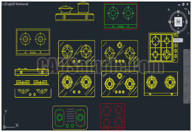Gas Stove Gas Burners Autocad Drawing 187 Cadsample Com