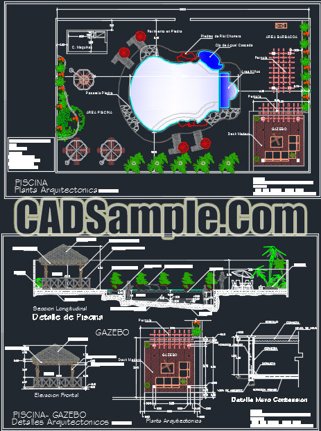 Grill Room Swimming Pool Dwg Project 187 Cadsample Com