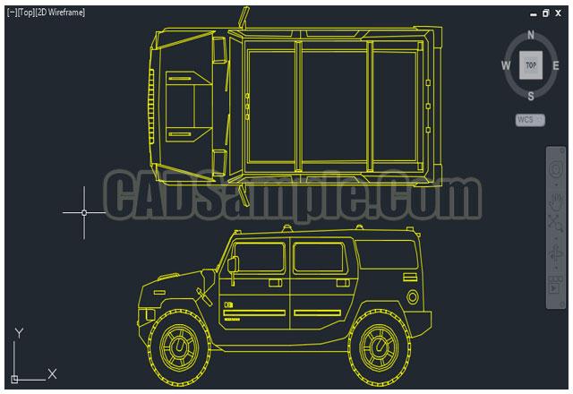 Hummer Car Truck Cad Block Dwg 187 Cadsample Com