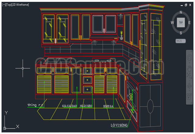 Kitchen cupboard plans autocad drawing of 3d cadsample com for 3d drawing kitchen