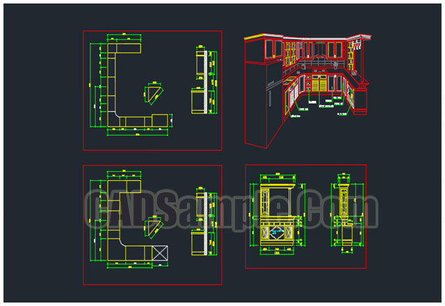 Kitchen cabinet cad blocks dwg cadsample com for Autocad kitchen cabinets