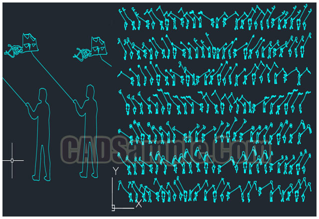 Kites-fly-with-human-figures-dwg-blocks