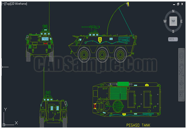 Car Front Elevation Autocad File : War tank cad block dwg cadsample