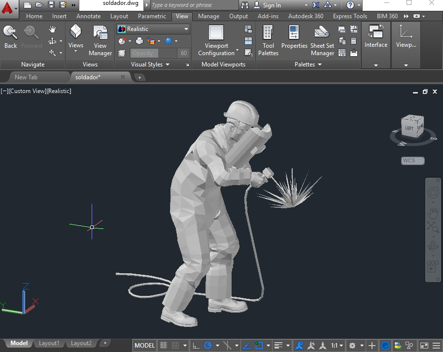 Welder 3d person autocad dwg cadsample com for 3d drawing online no download