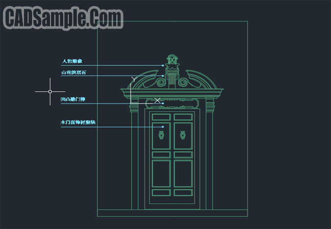 Double door design cad dwg cadsample com for Door design autocad
