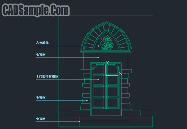 Rose door design cad free dwg block cadsample com for Door design autocad