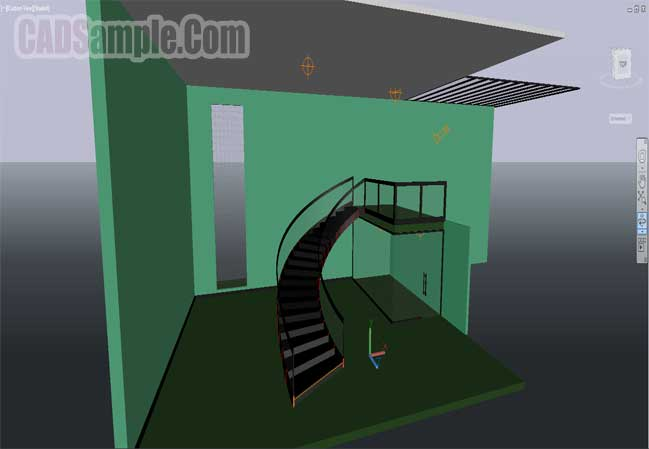 drawing-3d-of-curved-staircase-free-dwg