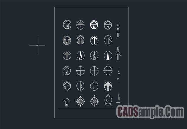 compass-symbol-autocad-blocks-free-dwg
