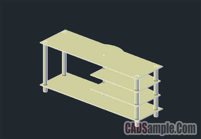 3D Door Glass TV Stand Dwg Drawing in Autocad