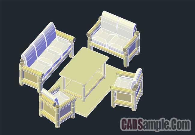 3D Sofa Set Dwg Drawing