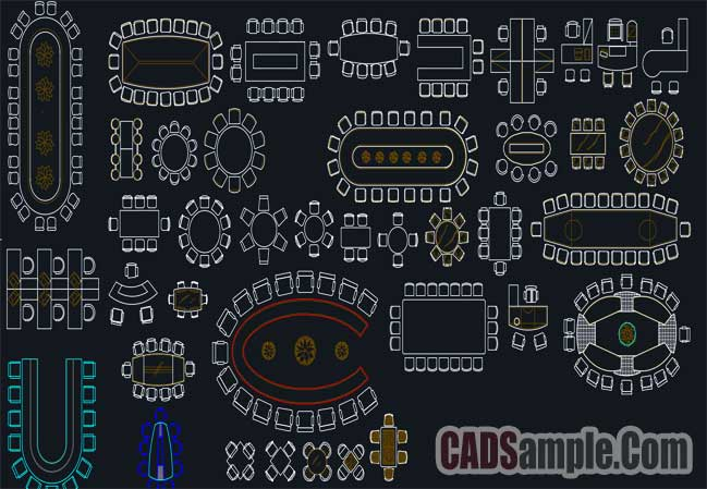 conference table cad blocks set  u00bb cadsample com