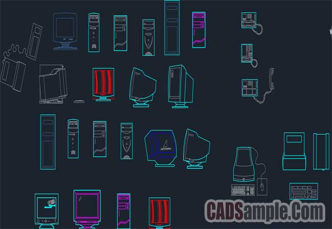 Free Computer Cad Blocks Dwg Set
