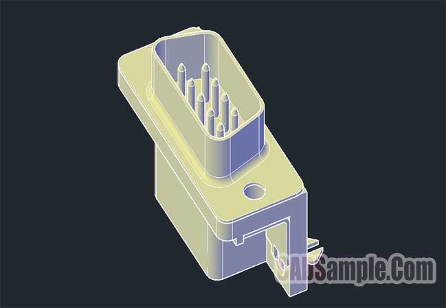 9-Pin-Male-Connector-3D-Dwg-Drawing