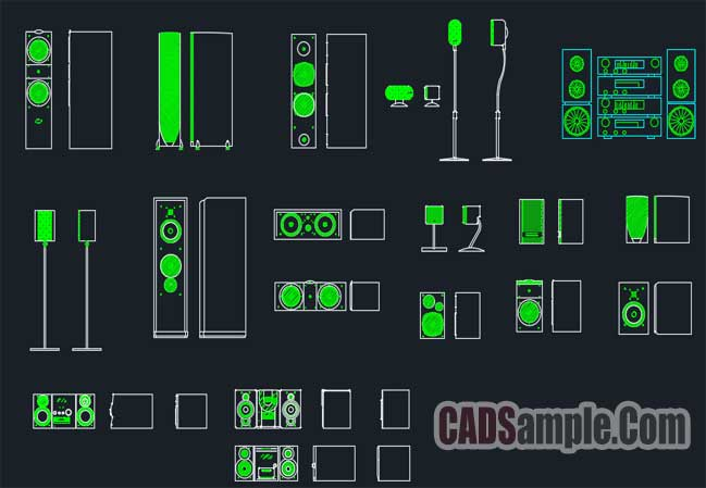 Home Stereo Free Cad Block Drawing