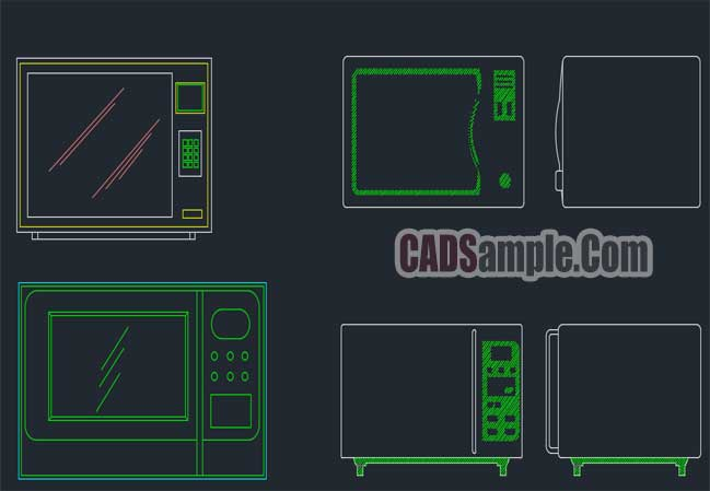 Microwave Oven Cad Block Drawing