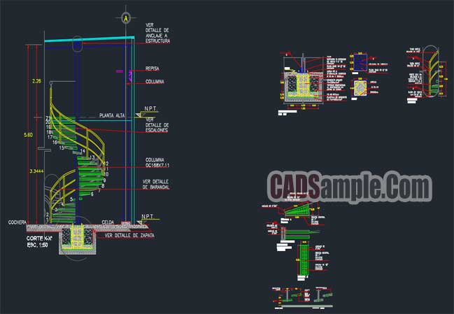 Spiral staircase autocad detail drawings cadsample com for Spiral stair cad