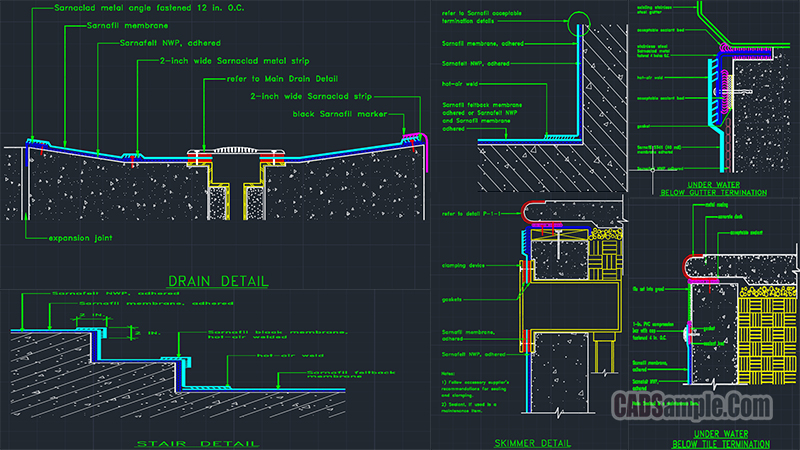 Swimming Pool Full Set Detail Drawings Free Dwg
