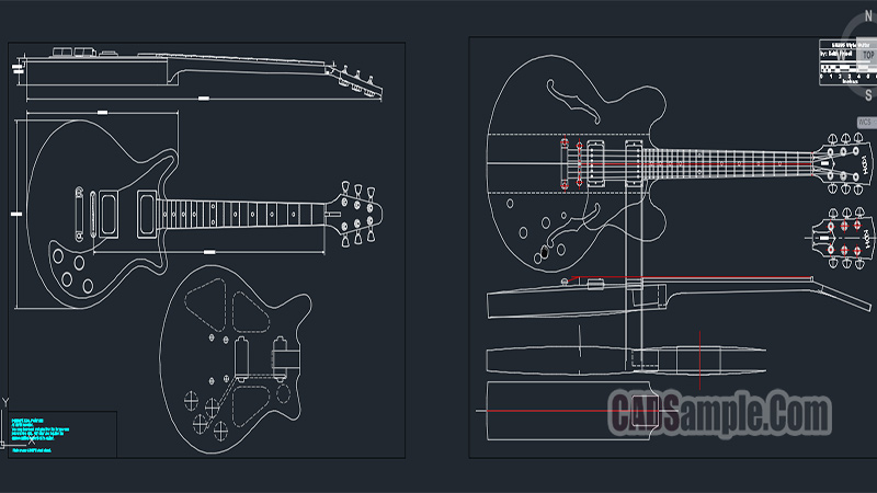 Guitar Details Free Dwg Cadsample Com