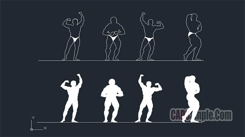 Body Building People Free Dwg