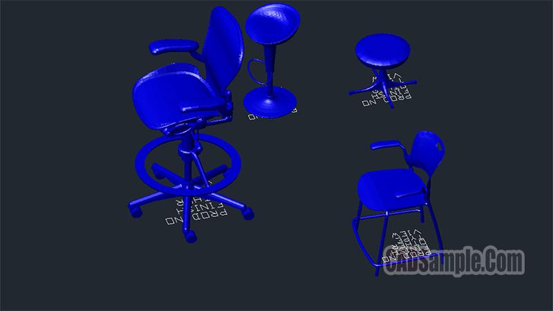 Pedestal Stool 3D Free Dwg