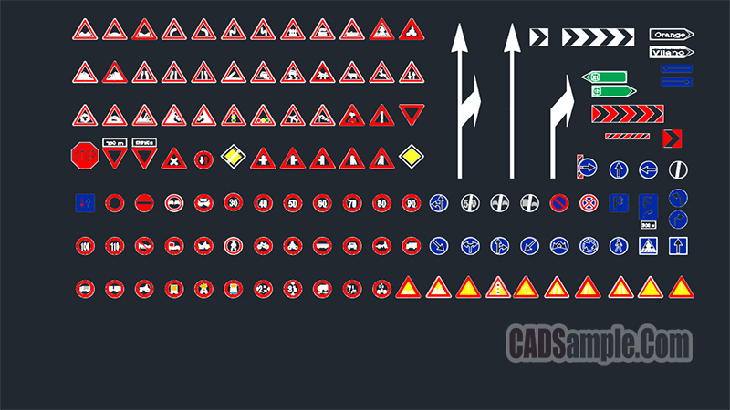 Road Signs Cad Blocks Set 1 Free Dwg