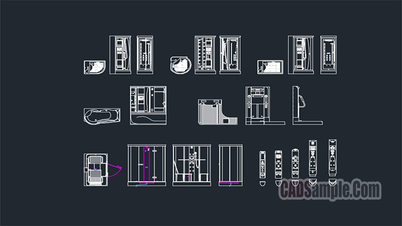 Shower Parts Free Dwg