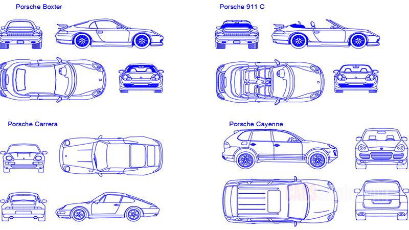 Porsche Car Details Free Dwg