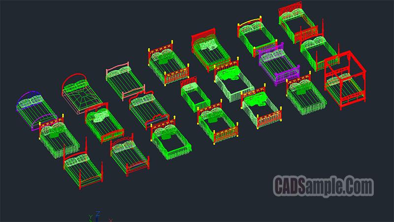 3D Bed Cad Blocks