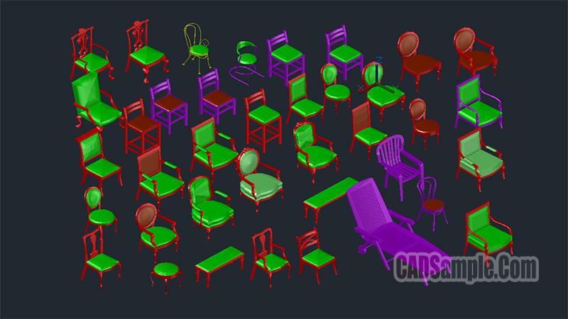 3D Chair Cad Blocks