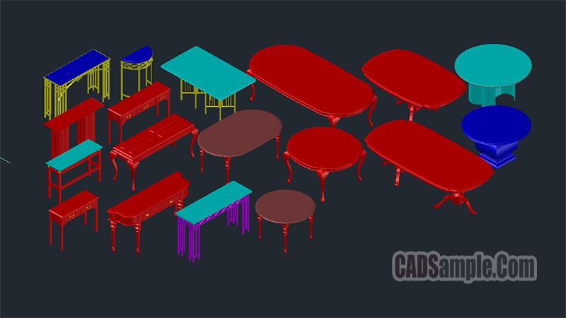 3D Table Cad Blocks