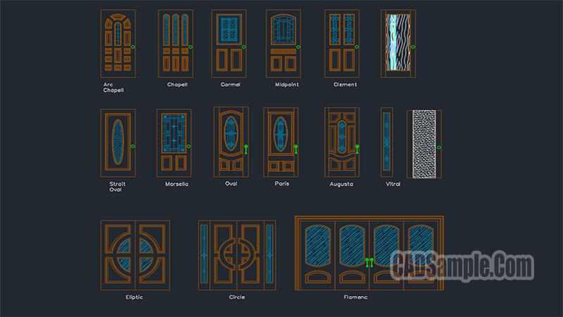 Wooden Doors Cads Blocks