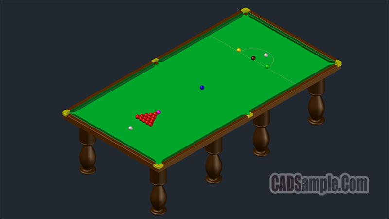 Billiards Table 3D Dwg