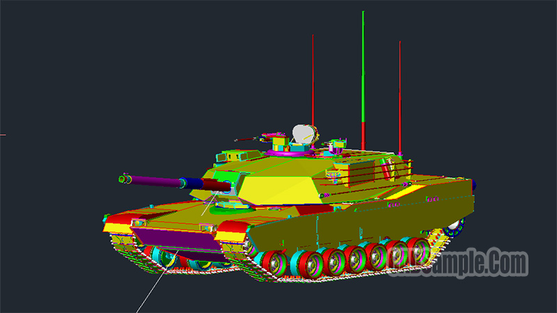 M1 Tank 3D Autocad Drawing