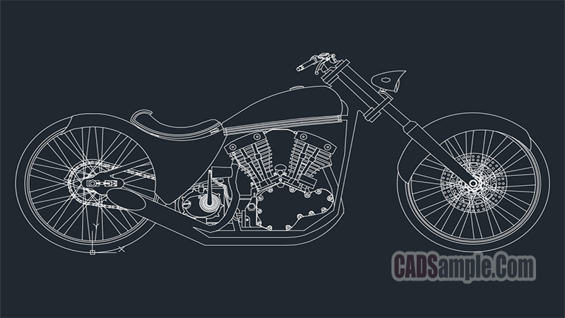 Choppers Motorcycle Dwg 187 Cadsample Com