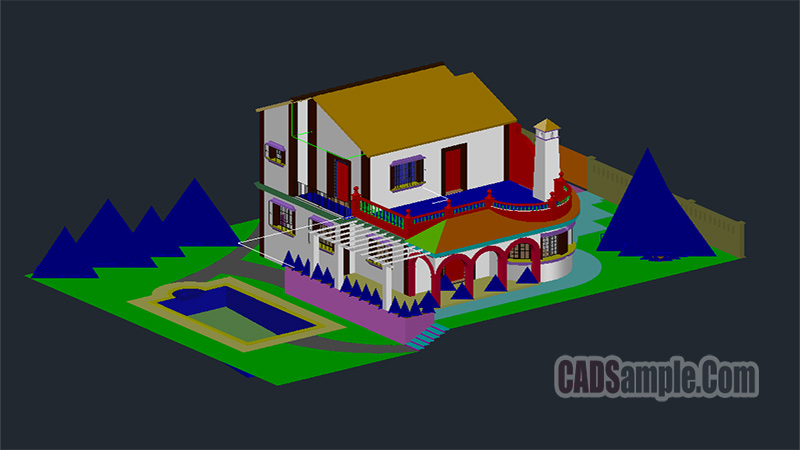 Villa With Pool 3D Dwg